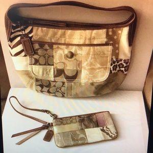 Vintage Coach patchwork hobo handbag and Wristlet